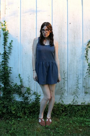 blue Urban Outfitters dress - brown thrifted vintage sandals