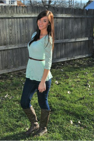 lace JCPenney top - bare traps boots - BDG jeans