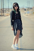 black stars romwe skirt - black military Forever 21 jacket