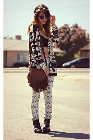 white tribal PacSun pants - black lace-up romwe boots