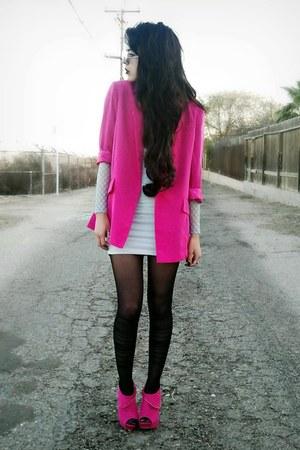 silk Forever21 blazer - bodycon Motel Rocks dress - ribbon romwe stockings