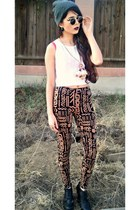 nude tribal Forever 21 leggings - black lennon 80s Purple sunglasses
