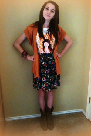 white Rodeo t-shirt - black Target skirt - brown Nordstrom boots - orange thrift