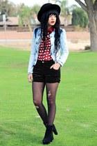 sky blue denim Forever 21 jacket - black felt Forever 21 hat