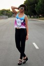 Black-pleather-victorias-secret-leggings-sky-blue-tie-dye-fresh-tops-top
