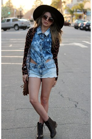 sky blue denim PacSun shorts - bronze fringe Charlotte Russe bag
