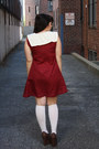 Maroon-tent-dress-handmade-by-me-dress-white-socks-white-vintage-belt