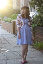 chambray dress - flats - rose print cardigan