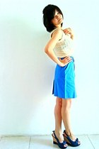 sky blue vintage skirt - cream knitted vintage vest - navy denim random wedges