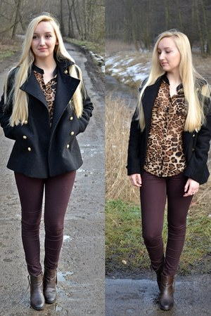 dark brown leopard print Rosewholesale shirt - black Sheinside jacket