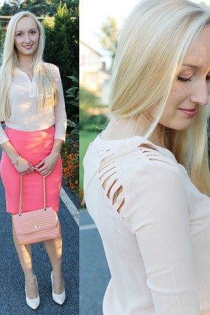 chiffon Choies shirt - Stradivarius bag - H&M second hand skirt