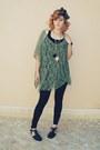 Black-primark-leggings-army-green-vintage-scarf-green-primark-top
