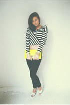 yellow neon bag - black jeans - white blouse - white sandals - Colorful bracelet