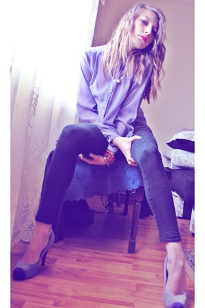 light purple shirt - light purple shoes - black Zara leggings