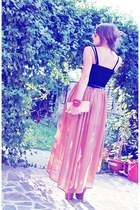 light pink skirt - neutral Zara shoes - black Pimkie top