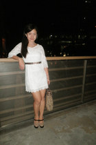 white lace h&m divided dress - brown missioni bag - light brown Ohrelle pumps