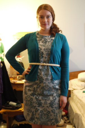 turquoise blue brocade merona dress - teal st johns bay cardigan - neutral skinn
