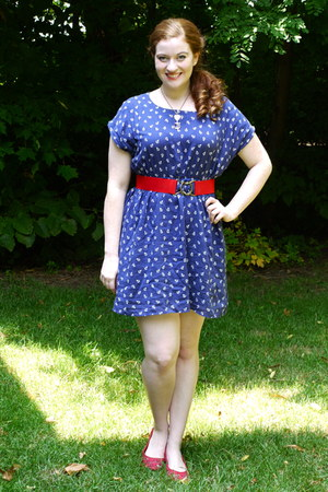 blue anchor Forever 21 dress - red cutout Target shoes
