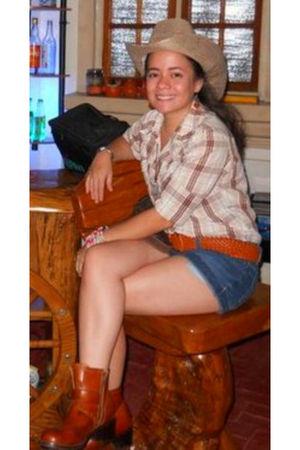 random brand blouse - Mudd shorts - random boots