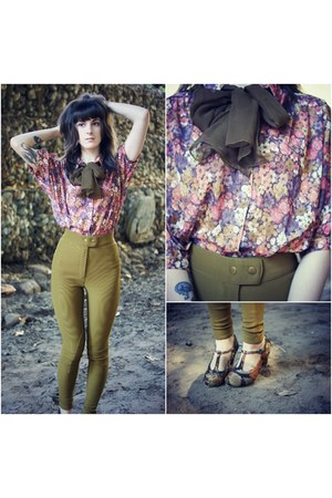 vintage blouse - riding pants American Apparel pants