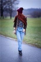 light brown Oasis coat - periwinkle Topman jeans