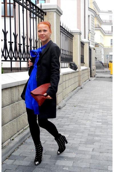 blue Topshop dress - dark gray All Saints coat - brick red Topshop bag