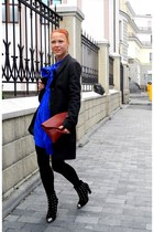 blue Topshop dress - dark gray All Saints coat - brick red Topshop bag