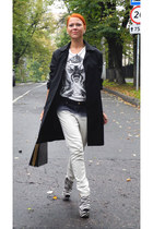 black ashish boots - black vintage coat - white Topman t-shirt