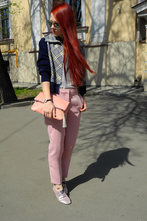 peach Adidas Neo shoes - salmon Adidas bag - light pink Zara pants