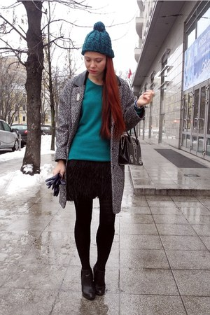 black Topshop boots - teal Uniqlo jumper