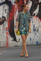 army green Topshop shirt - yellow Mango bag - nude Bersh heels