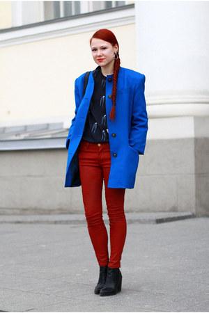 black Topshop boots - ruby red Zara jeans - black Monki blouse