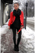 red vintage jacket - black Topshop boots