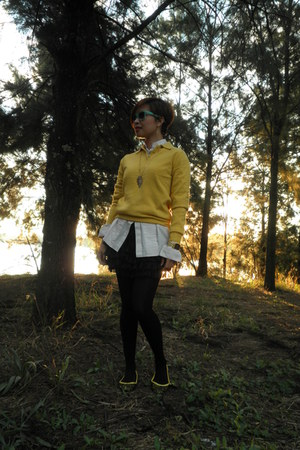 yellow surplus shop sweater - sky blue rubi glasses - navy frilly lace sm dept s