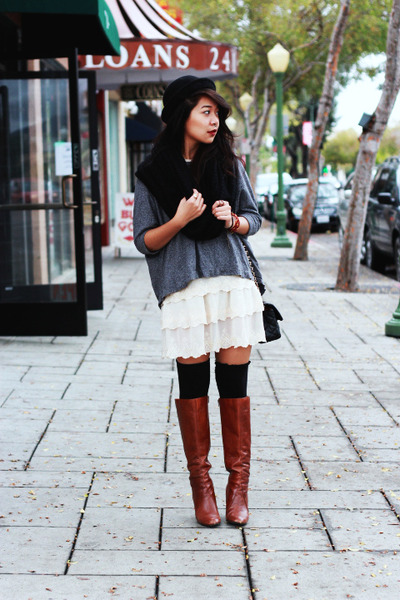 beige lace lace dress dress - tawny Knee high boots