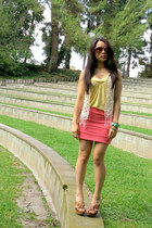 coral foreign exchange skirt - camel Cathy Jean heels - yellow f21 top