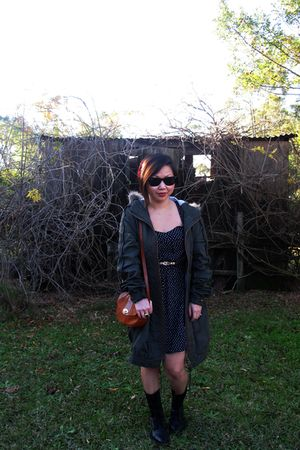 blue dress - green asos jacket - black Urge boots - brown vintage accessories -