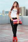 Carrot-orange-zara-heels-black-faux-leather-zara-pants