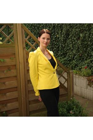 black studded Deichmann boots - yellow Zara blazer - black Sasch top