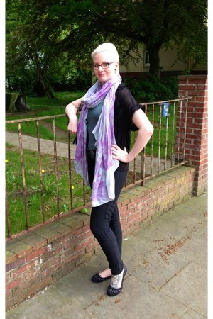light purple Amorph scarf - black leather Mavi bag - black zalando blouse