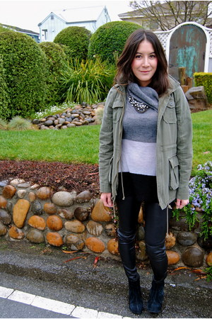 J Crew necklace - Jeffrey Campbell boots - leather pants pants