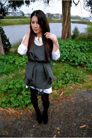 light brown ever dress - off white Muji dress - black Theyskens Theory boots