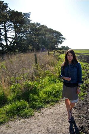 black Zara heels - navy Gap jacket - light brown Anthropologie skirt
