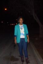 blue vintage blazer - white Owl shirt shirt - brown seychelles boots
