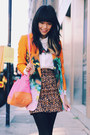 dark brown Gorman skirt - orange River Island blazer - white Zara shirt