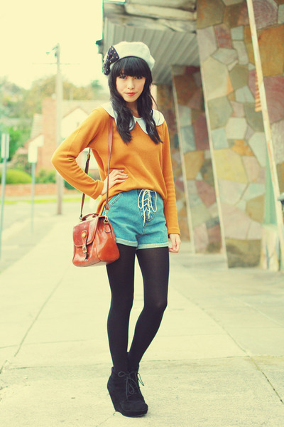 orange vintage jumper - silver KANI hat - blue romwe shorts - black asos wedges