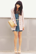 light pink vintage blazer - teal vintage dress - nude asos bag