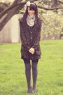 Green-vintage-coat-gray-sportsgirl-socks-silver-china-scarf-black-vintage-