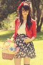 red vintage jacket - blue vintage skirt - gray