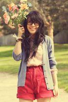 pink vintage blouse - blue vintage cardigan - red diy  thrifted shorts